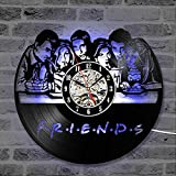 JXWH Reloj de Pared Retro de Vinilo con diseño Moderno Reloj de la Serie de TV de Amigos Reloj de Pared con iluminación iluminada Decoración del hogar Regalo de Amigos