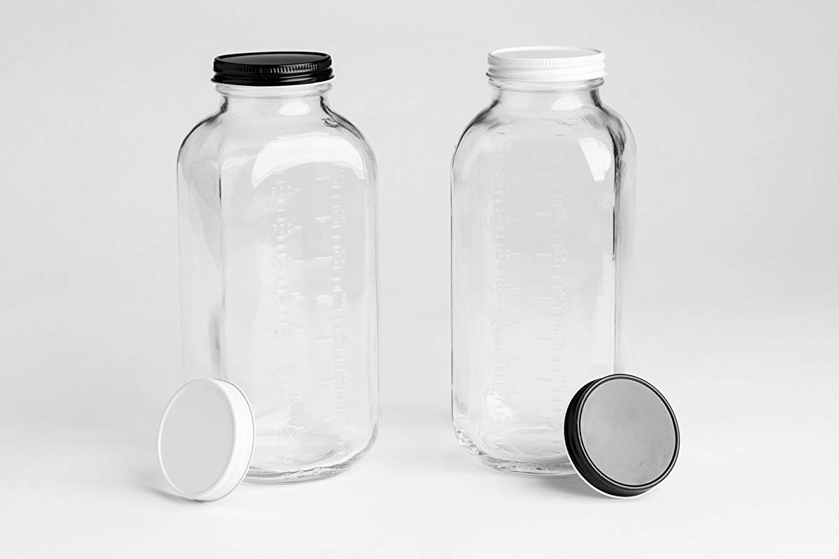 Glass Milk Bottle With 2 Extra Leak Free Lids And Measuring Marks Vintage Jugs 32 Ounces Set Of 2 Made In USA