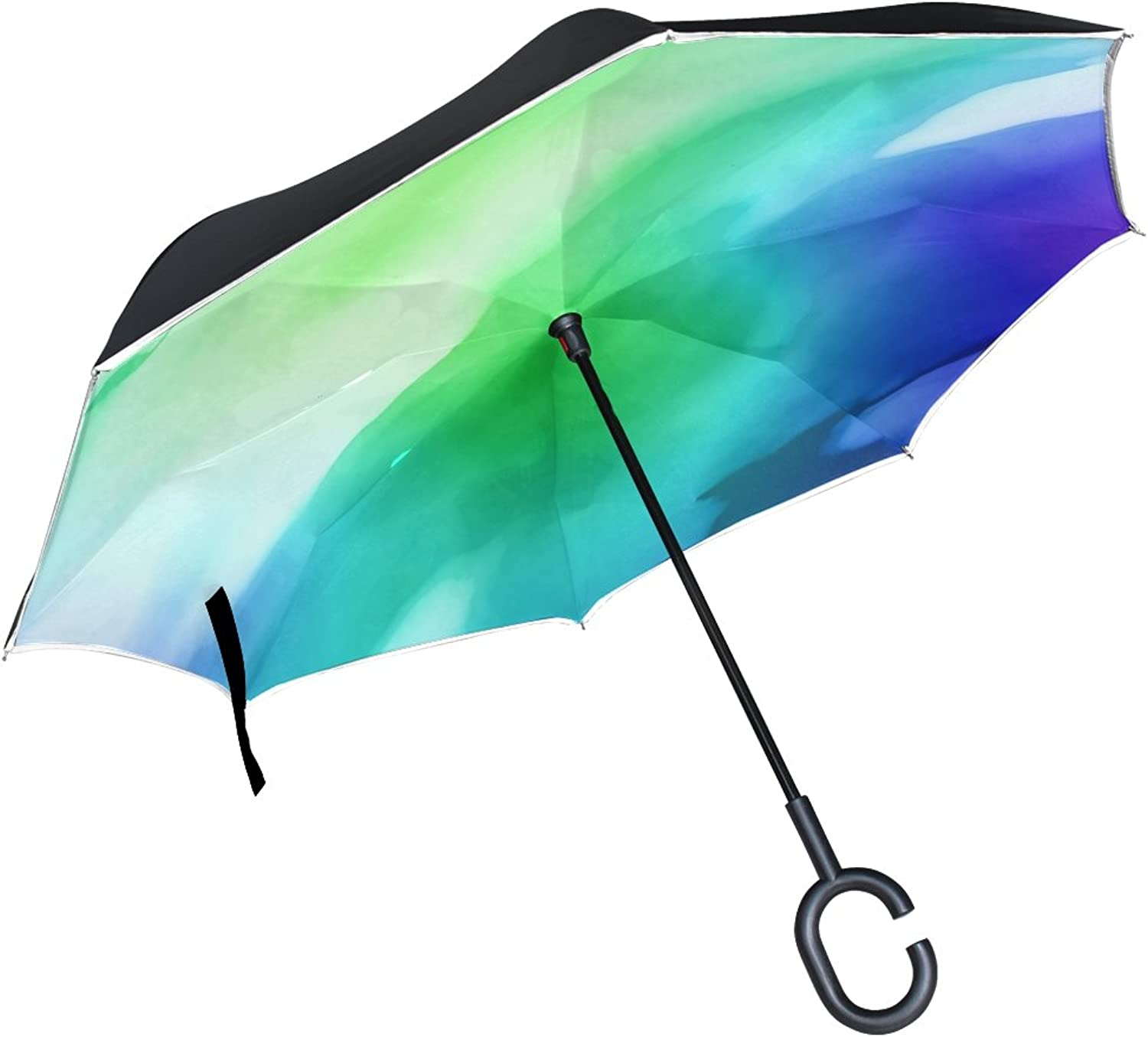 Double Layer Ingreened Watercolour Watercolor Paint Ink Blend blueee Stain Umbrellas Reverse Folding Umbrella Windproof Uv Predection Big Straight Umbrella for Car Rain Outdoor with CShaped Handle