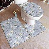 WEURIGEF Badezimmer Teppiche Sets 3 Stück Kolibri fliegen mit Blumen Bad Kontur Matte Toilettendeckel Abdeckung in geformten rutschfesten Home Waschraum Dekor