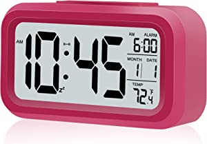 Kids Alarm Clock, Battery Operated Clocks for Bedroom, with Smart Night Light   Snooze   Date   12/24H   Indoor Temperature, for Women Wife Teens Girls Best Decor for Home(Rose Red)