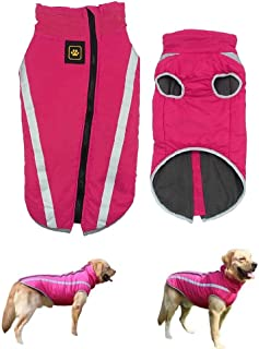 Harelgrow Dog Winter Coat,Reflective Waterproof Dog Jacket,Cold Weather Pet Clothes for Medium Large Dogs
