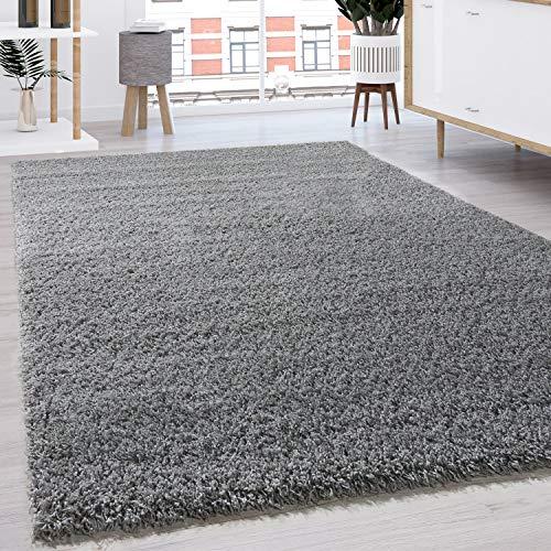 Paco Home Hochflor Shaggy Langflor Teppich versch. Farben u. Grössen TOP Preis NEU*OVP, Grösse:200 cm Quadrat, Farbe:Grau
