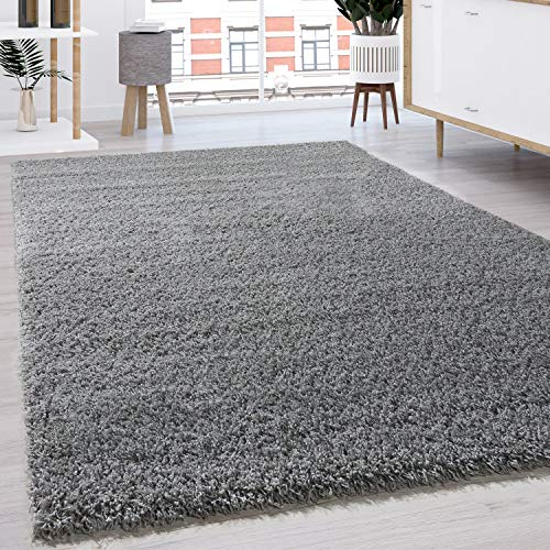Paco Home Tapis Shaggy Longues Mèches en Différentes Tailles Et Coloris, Dimension:60x100 cm, Couleur:Gris