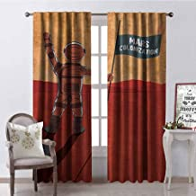 Gloria Johnson Outer Space 99% Blackout Curtains Colonization of Mars with Cosmonaut on The Planet with a Flag Discovery Image for Bedroom Kindergarten Living Room W52 x L72 Inch Orange Red