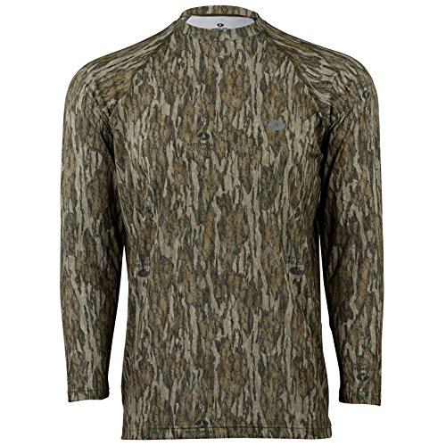Mossy Oak Men's Camo Long Sleeve Performance Tech Tee Hunting Shirt, Bottomland, Large