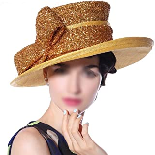 Hats Stage Hemp Hat Banquet Party Hat Spring Summer Haircord Golden Cap Fashion (Color : Gold)