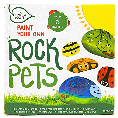 CREATIVE ROOTS Paint Your Own Rock Pets by Horizon Group USA, 6 Colors, Paint Brush, Wiggly Eyes and Glue Included, Multicolor