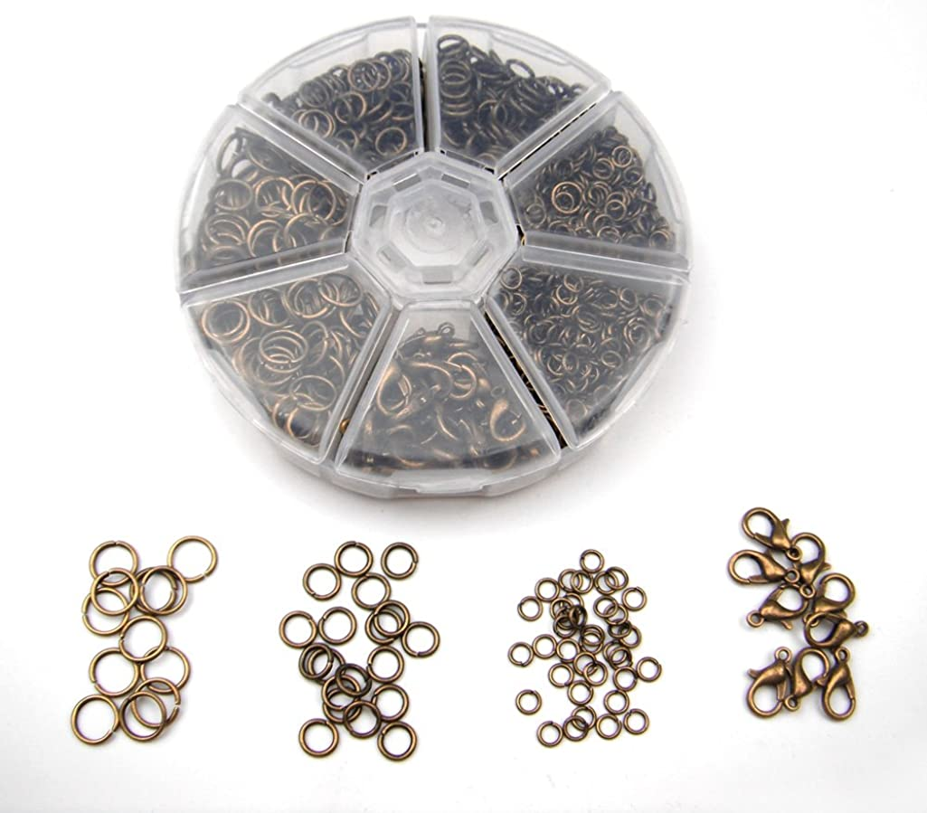ALL in ONE Lot Box 4mm,6mm,8mm Antique Bronze Plated Open Jump Ring & 12x6mm Lobster Claw Clasps Findings Approx 1380pcs (Antique Bronze)