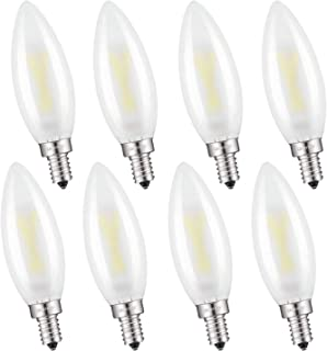 OMAYKEY 2W LED Candelabra Bulbs 25W Equivalent 3000K Soft White 250 Lumens, E12 Base Frosted Glass C32 Candle Dimmable LED Chandelier Light Bulb, Pack of 8