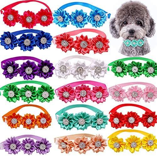 Masue Pets 15pcs Pack Dog Bow Tie Dog Flower Collar Diamond Dog Accessories Pet Flower Bows product image