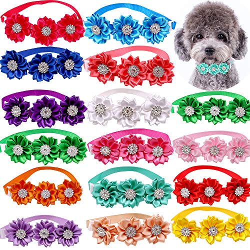 Masue Pets 15pcs/Pack Dog Bow Tie Dog Flower Collar Diamond Dog Accessories Pet Flower Bows Small Dogs Cat Puppy Bowtie Collar Dogs Bowties Pet Supplies