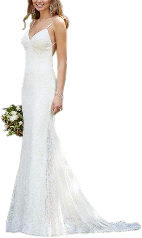 Beautyfudre Women's Spaghetti Straps Empire Backless Mermaid Lace Wedding Dress