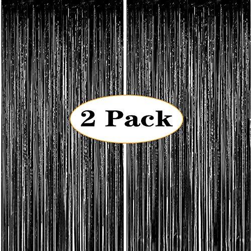 ONUPGO Paquete de 2 Cortinas de Flecos metálicos Brillantes de 1mx3m pies, Cortina de espumillón para Puerta de Año Nuevo, Ideal para decoración de cumpleaños, Bodas, Navidad o Fiestas