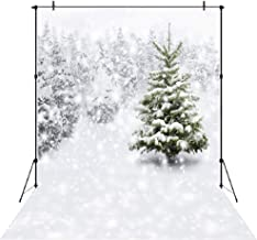 Aperturee Winter Backdrop 7x5FT White Accumulated Snow Tree Photography Background Christmas Snowfall Snowflake Natural Forest Home Party Decoration Photo Studio Props