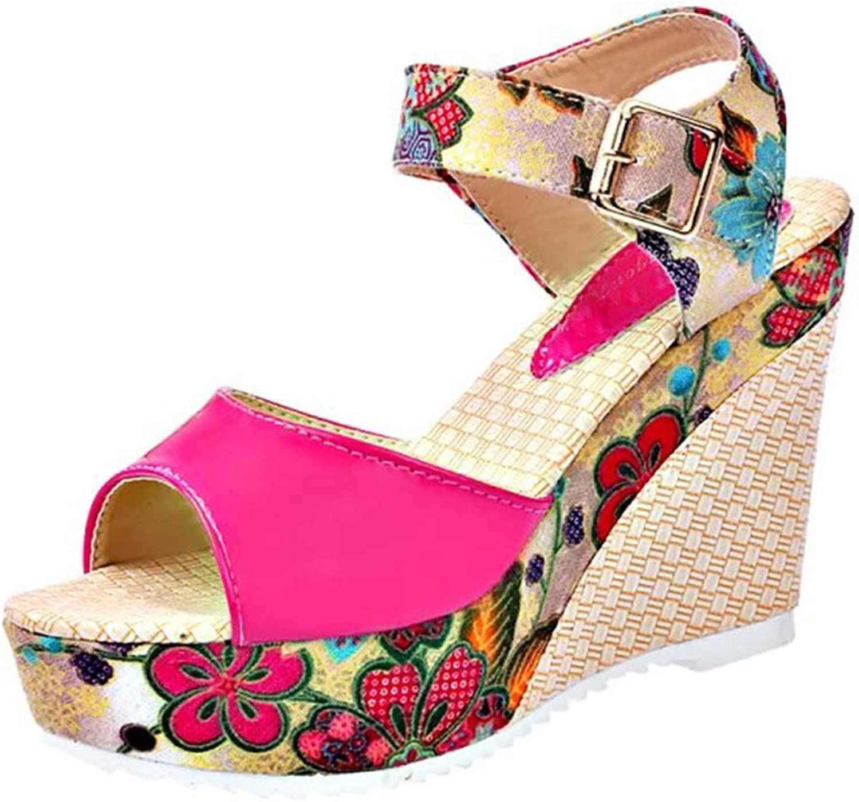 Women Sandals Summer Platform Wedges Casual shoes Women Floral High Heels Open Toe Slippers
