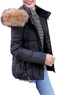 Macondoo Women Fashion Puffer Faux Fur Collar Hoodie Cotton-Padded Down Jacket
