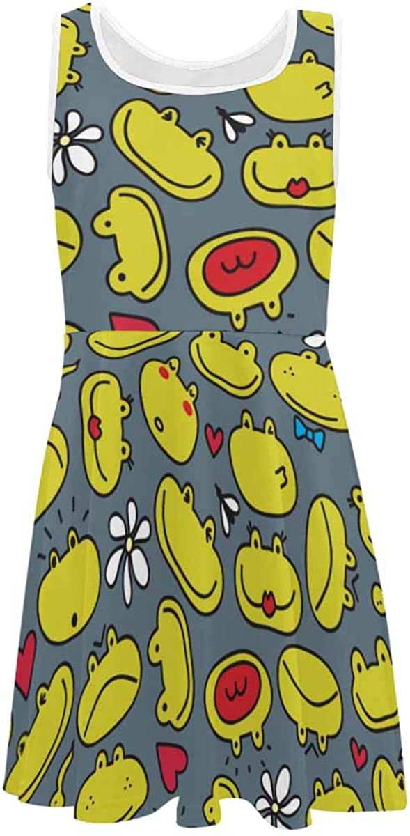 INTERESTPRINT Girl's Sleeveless Dresses Kids Crew Neck Dress for Casual School Frog Pattern S