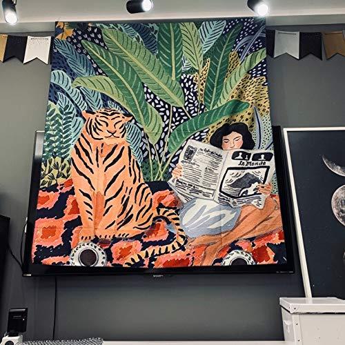 YiXing Mona Lisa - Tapiz de graffiti para colgar en la pared, manta de playa bohemia, poliéster, esterilla de yoga para el hogar, dormitorio, alfombra de arte (color: chica tigre, tamaño: 95 x 73 cm)