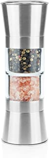 Fortune Candy Salt & Pepper Grinder, Spice Mill with Ceramic Blades and Adjustable Coarseness, FDA & LFGB Approved, BPA-free, Glass & Brushed Stainless Steel