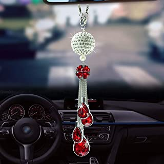 ALOTEX Bling Car Interior Accessories for Women Bling Car Decoration Crystal Ball Car Rear View Mirror Charms Decor,Hanging Bling Mirror Pendant Car Accessories(Silver Ball-Red)