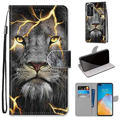Miagon Flip PU Leder Schutzhülle für Huawei P40,Bunt Muster Hülle Brieftasche Case Cover Ständer mit Kartenfächer Trageschlaufe,Wütend Löwe