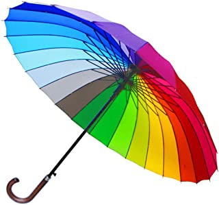COLLAR AND CUFFS LONDON - 24 Ribs for Super-Strength - Windproof 60mph Extra Strong - Triple Layer Reinforced Frame with Fiberglass - Auto - Hook Handle Wood - Rainbow Canopy Umbrella