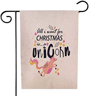 Anucky Decorative Yard Farmhouse Holiday Banner 12 X 18 Inches,Garden Flag Stand Sign Want Christmas Funny Slogan Kids Creative I for is a Unicornquot Double-Sided Seasonal Garden Flags