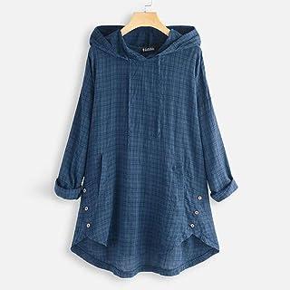 womens tops Hooded Tops Womens Check Blouse Fashion Casual Plaid Tee Shirt Female Long Sleeve Tunic Button Irregular Zzbia...