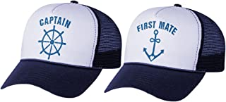 Funny Captain & First Mate Nautical Sailing Matching Mesh Caps Set Couples Gift