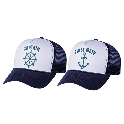 Funny Captain   First Mate Nautical Sailing Matching Mesh Caps Set Couples  Gift 8cc9e7473e78