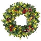 xiaocai Corona de Navidad para puerta, decoración y pino, para escaparates, paredes, chimeneas, habitaciones y decoraciones de árbol de Navidad (60,9 cm)