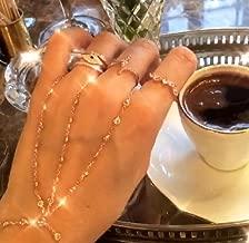 White Zircon Double Finger Slave Bracelet Adjustable Hand Chain| 925 Sterling Silver