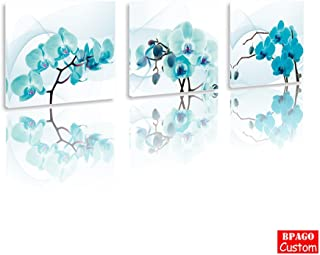 BPAGO Blue Moth Orchid Flowers Paintings Modern Abstract Prints Paintings Giclee Printing on The Canvas Wood Framed Inside for New House Art Work Home Decoration (36 x 12 inch