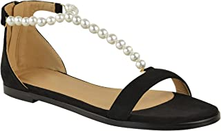 Fashion Thirsty Womens Flat Summer Sandals Faux Pearl Strappy Low Heel