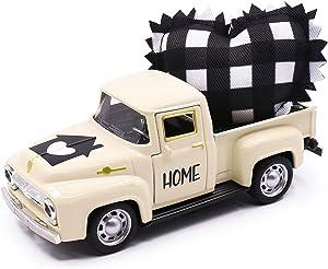 Huray Rayho Metal Farm Truck with Stuffed Fabric Buffalo Check Heart Farmhouse Home Tiered Tray Decor Vintage Pickup Mini Diecast Truck Bookshelf Table Decors