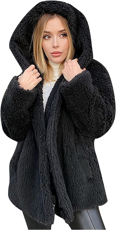 Women's Sherpa Jacket Casual Lapel Fleece Fuzzy Faux Shearling Zipper Teddy Coat Oversized Outwear