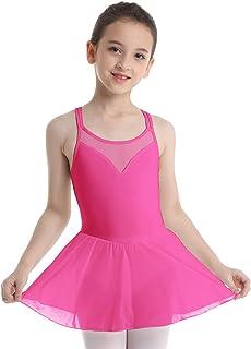 iEFiEL Ragazza Vestito da Danza Balletto Donna Leotard Ginnastica Dancewear Classica Chiffon Tutu Senza Manica Ballo Body Bodysuit Aderente Elegante Performance Spallina