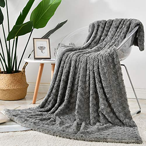 Jinchan Throw Blanket Grey Soft Cozy Fuzzy Dimensional Rose Design Coverlet for Girls Teenager Kids Living Room Bedroom Nursery Couch Sofa Chair Recliner Bed Gift Four Seasons 50x60 Inch