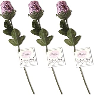 Madelaine Chocolate Sweetheart Edible Roses - Solid Premium 1/2 OZ Milk Chocolate Roses Wrapped in Italian Foil (Lavender, 3 Pack)