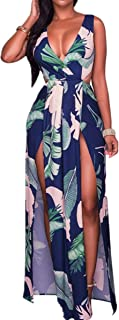 Taiduosheng Women's Sexy Deep V Neck Party Dress Sleeveless Boho Floral Print Beach High Split Maxi Dress