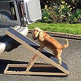 GBWHL Haustier Hund Rampe höhenverstellbar rutschfeste Sicherheitsrampe für die Reise aus Holz...