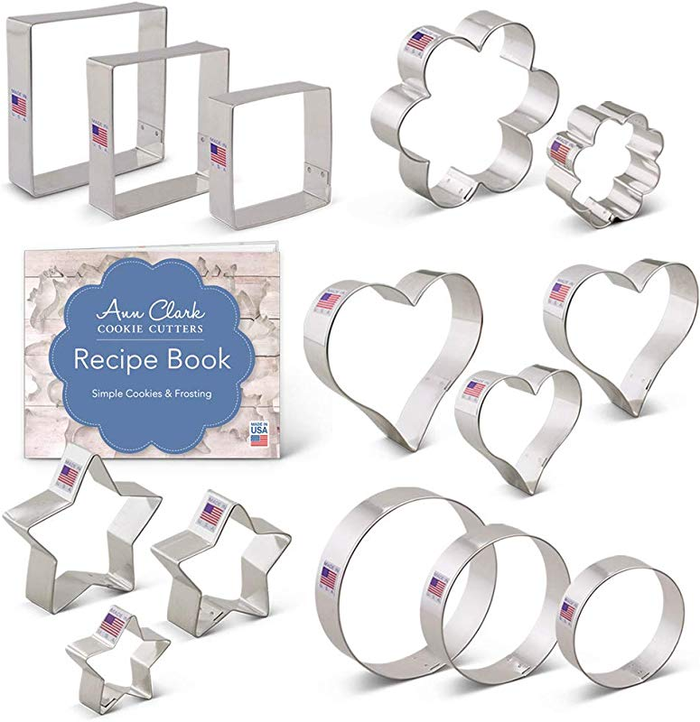 Ann Clark Cookie Cutters 14 Piece Basic Cookie Cutter Set With Recipe Booklet Basic Cookie Cutters Set With Recipe Card Stars Hearts Circles Flowers Squares