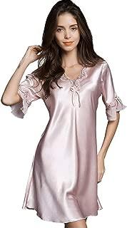 Ufatansy Women Sleepwear Sexy Lingerie V-Neck Soft Nightgown Short Skirt Silk Lace Pajama Dress