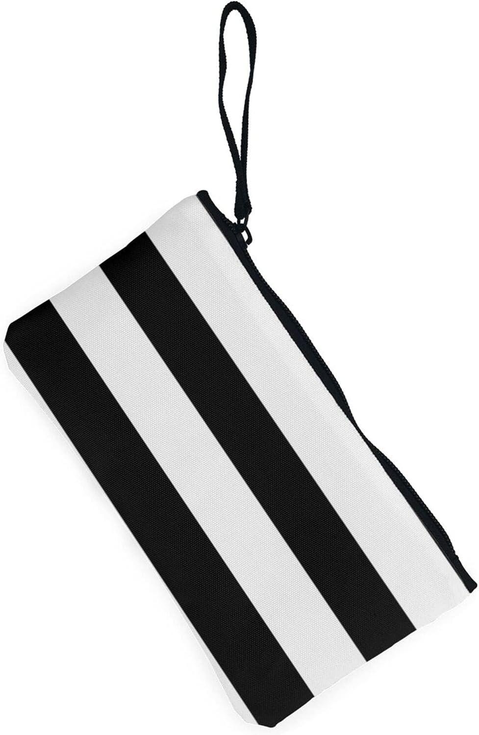 AORRUAM Stripes Black White Canvas Coin Purse,Canvas Zipper Pencil Cases,Canvas Change Purse Pouch Mini Wallet Coin Bag