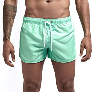 iLXHD Men's Swim Trunks Summer Drawstring Splicing Swimming Trousers Beach Surfing Shorts(10+Color)