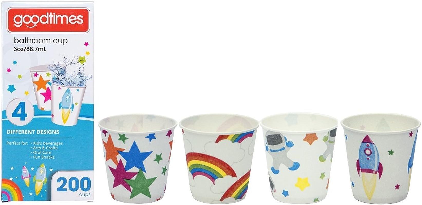 Goodtimes Bathroom Cups 3 Oz 200 Ea Assorted Designs 1 Child