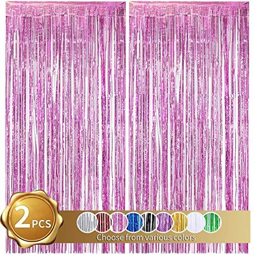 2er Pack Folienfransen Vorhang, rosa Lametta Metallic Vorhänge Foto Hintergrund für Hochzeit Verlobung Brautdusche Geburtstag Bachelorette Party Bühnendekor (3,28 ft x 6,56 ft)