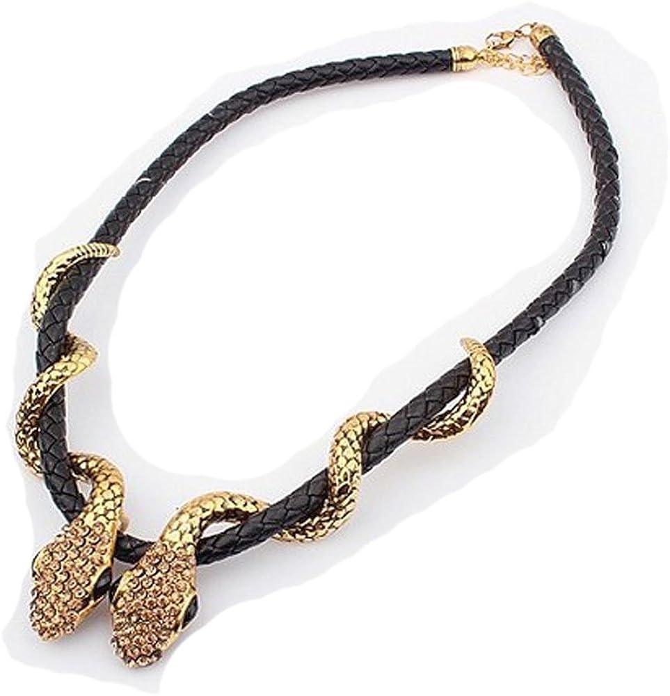 Wiipu Punk Black Leather Chain Link Double Snake Wrap Crystal Pendant Choker Necklace(wiipu-B316)