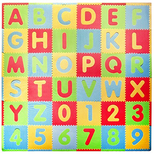 Tadpoles Soft EVA Foam 36 Piece ABC Playmat Set, Modern, 74x 74 (36 Sq Feet)